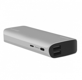 PROMATE 15000mAh Aluminium Crafted Lithium Ion Power Bank with Dual USB Ports for Smartphones & Tablets, Silver