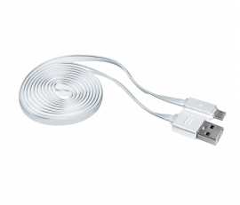 PROMATE Flat Micro-USB Charge and Sync Cable, 1.2 Meters, White