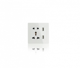 ECW Univeral dual outlet with 2 USB 2.1mAh Charger