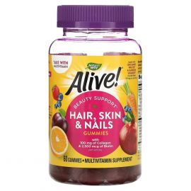 NATURE'S WAY Alive! Hair Skin & Nails with Collagen and Biotin - 60 Gummies