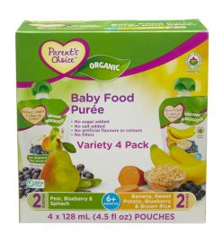 PARENT'S CHOICE Organic Baby Purée - (128 ml x 4 Sachets)