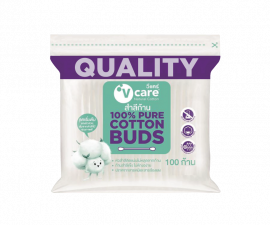 V CARE 100% Pure Cotton Buds - 100 Pieces