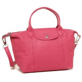 LONGCHAMP Le Pliage Cuir Leather Top Handle Tote (កាបូប) -  Small, Dark Pink