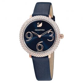 SWAROVSKI Crystal Frost Watch - Blue Leather Strap with Rose Gold Tone PVD