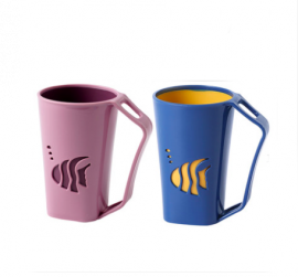 DORALAND Mouthwash and Home Brushing Cup Set -  Small Fish Pink & Dark Blue
