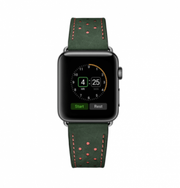 JINYA Vogue Leather Band for Apple Watch 44mm, 42mm - Green with Orange Dot (Band Only)