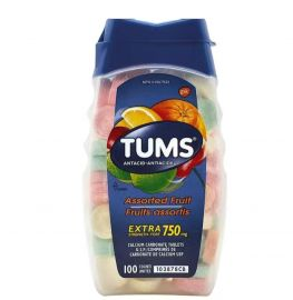 TUMS Antacids Assorted Fruit Extra Strength 750mg - 100 Counts