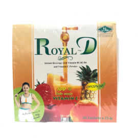 ROYAL-D Natural Orange Flavored Beverage Powder With Multivitamin and Mineral Pack - 25gx50pcs