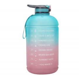 ENTHANOO Gradient Water Bottle with Straw 3.78L - Ocean Blue & Pink