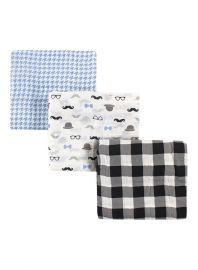 HUDSON BABY Swaddle Blanket Set 3 Pieces - Black and Blue