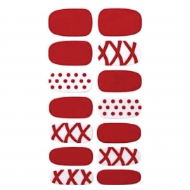 CARE4U Nail Stickers - Red x White Design