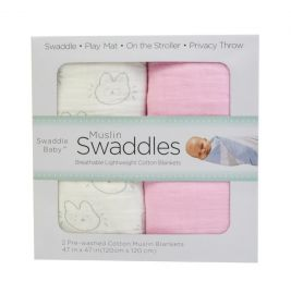 SWADDLE BABY Muslin Swaddle Cotton Blanket Set - 2 Pieces