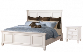 AHSLEY Prentice Queen Panel Bed with Nightstand