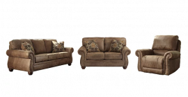 AHSLEY Larkinhurst Faux Leather Set with Sofa, Loveseat and Rocker Recliner